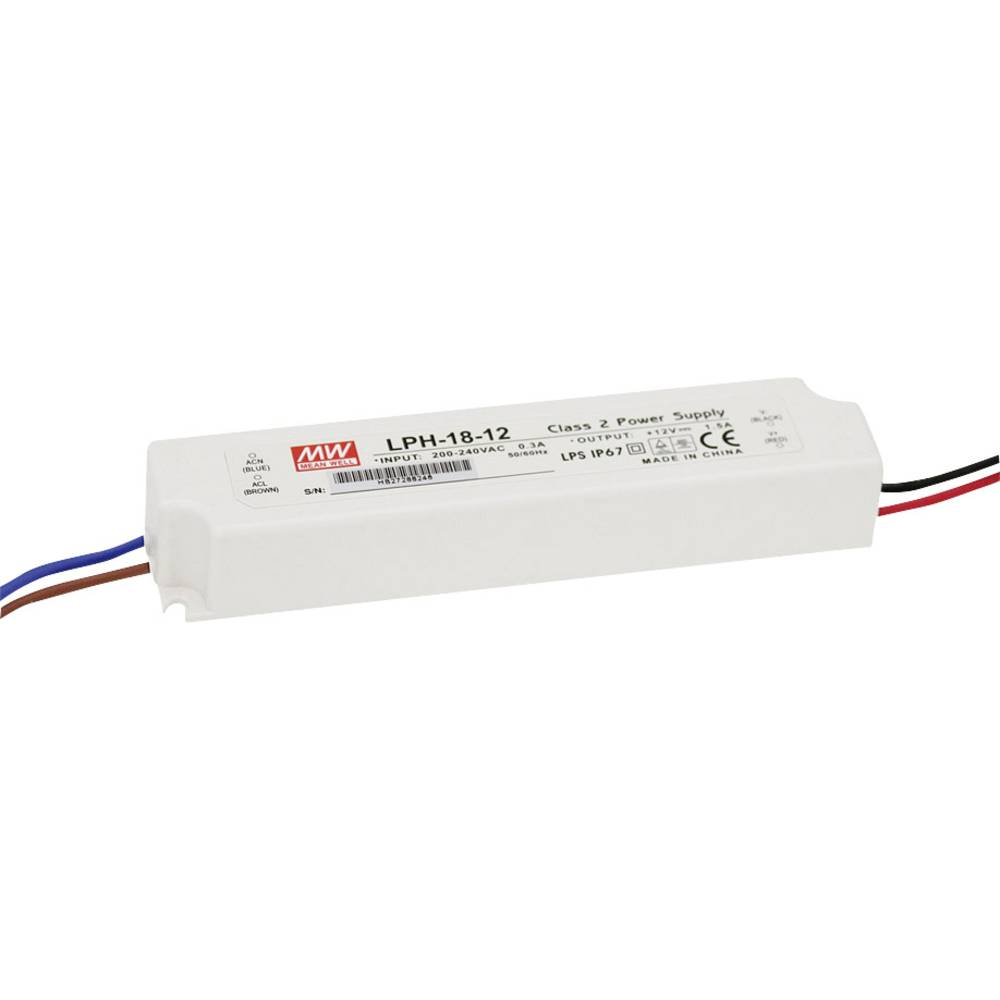 LED gonilnik, konstantni tok Mean Well LPH-18-36 18 W (maks.) 0 - 0.5 A 36 V/DC možnost zatemnjevanja