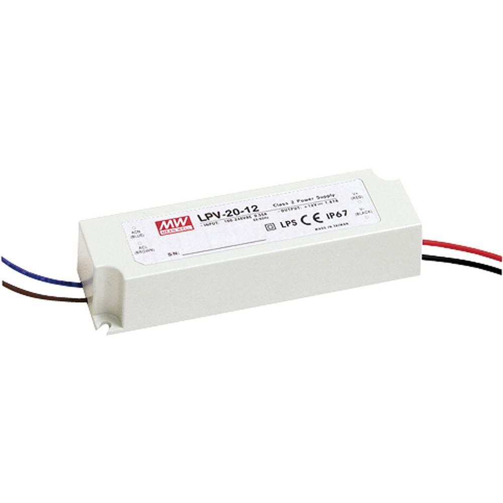 LED gonilnik, LED Trafo, konstantna napetost Mean Well LPV-20-15 20 W (maks.) 0 - 1.33 A 15 V/DC možnost zatemnjevanja