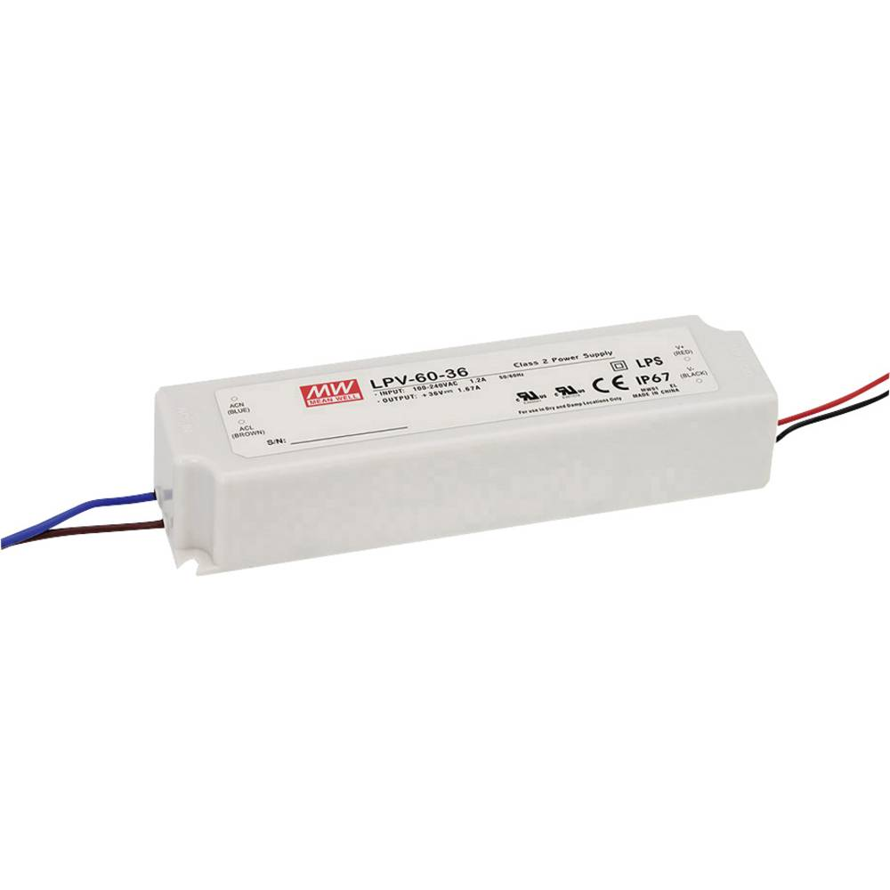 LED transformator, konstantna napetost Mean Well LPV-60-36 60 W (maks.) 0 - 1.67 A 36 V/DC možnost zatemnjevanja