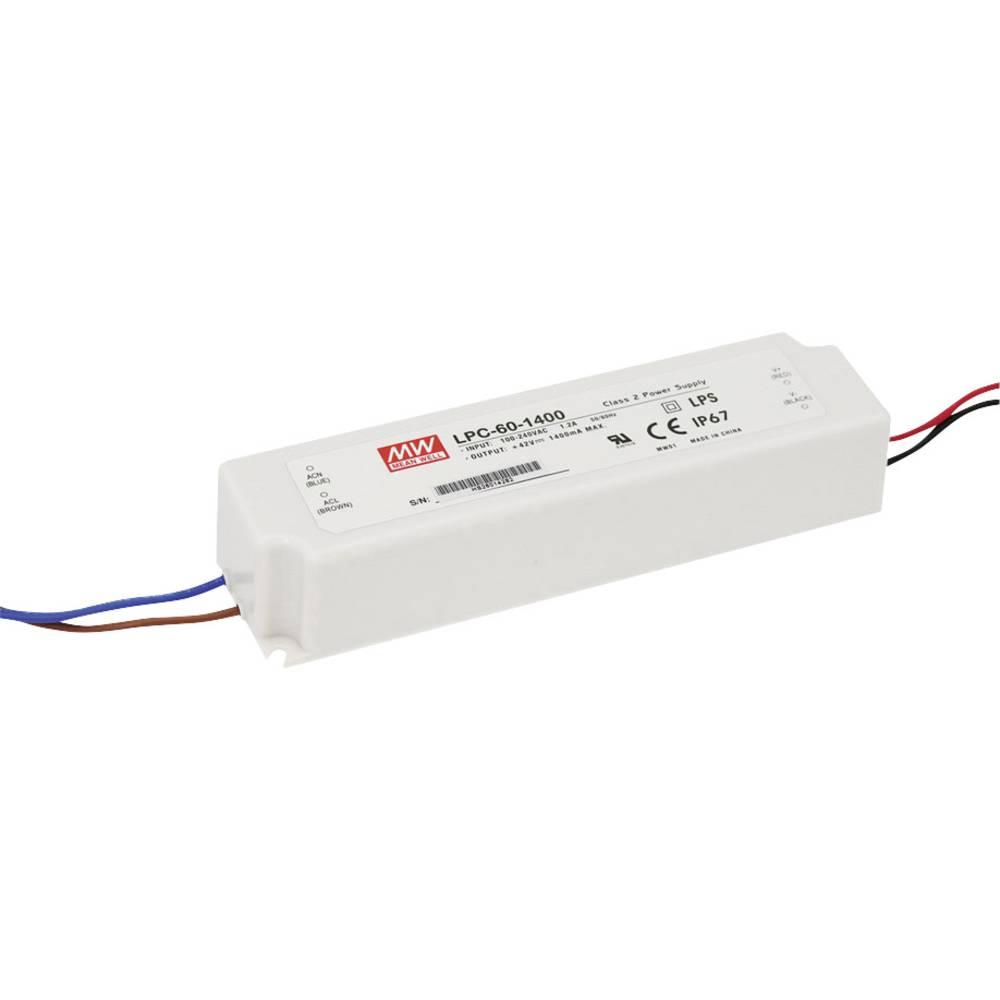 LED gonilnik, konstantni tok Mean Well LPC-60-1400 58.8 W (maks.) 1.4 A 9 - 42 V/DC možnost zatemnjevanja