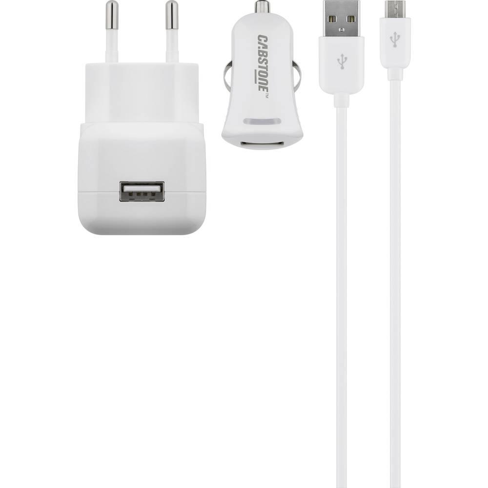 USB-oplader Cabstone 43457 43457 Stikdåse Udgangsstrøm max. 2100 mA 2 x USB (value.1390762), Micro-USB (value.1390649)