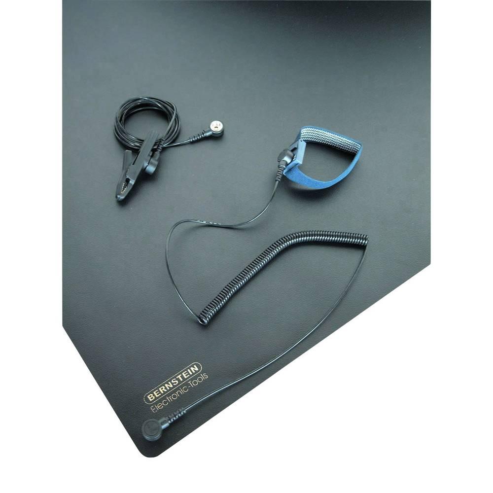ESD namizna podloga v setu, črne barve (D x Š) 800 mm x 600 mm Bernstein 9-360 vklj. ozemljitveni kabel, vklj. zapestni trak, vk