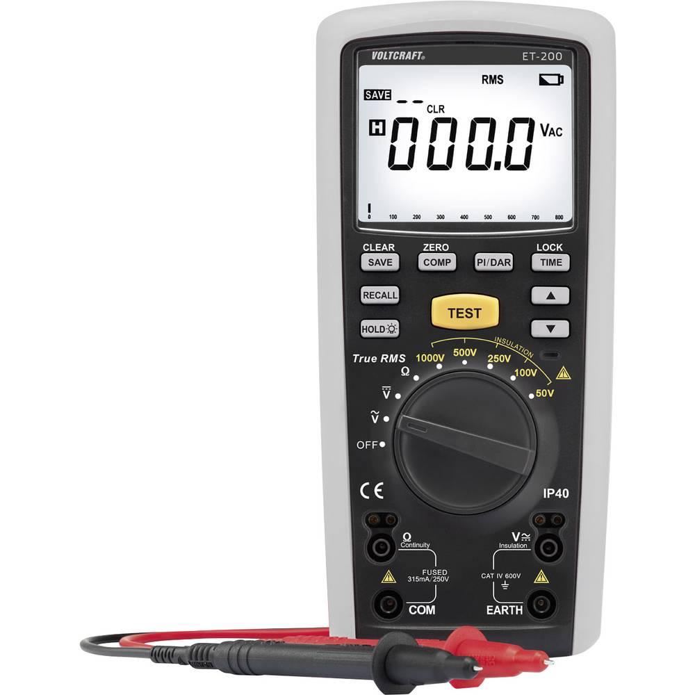 VOLTCRAFT ET-200 mjerač izolacije, ispitivač izolacije, 50/100/250/500/1000 V 0.01 M - 20 G kalibriran prema ISO