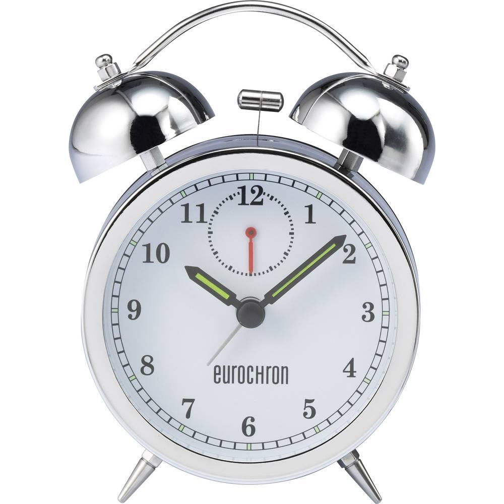 Kvarčna budilka Eurochron, ohišje = srebrna, številčnica = bela, mere (Š x V x G) 80 x 125 x 42 mm