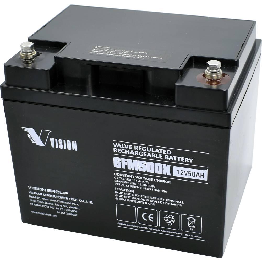 Solarni akumulator Vision 12 V 50 Ah 6FM50DX (AGM) (Š x V x DB) 197 x 170 x 165 mm, s priključnim M6 vijkom