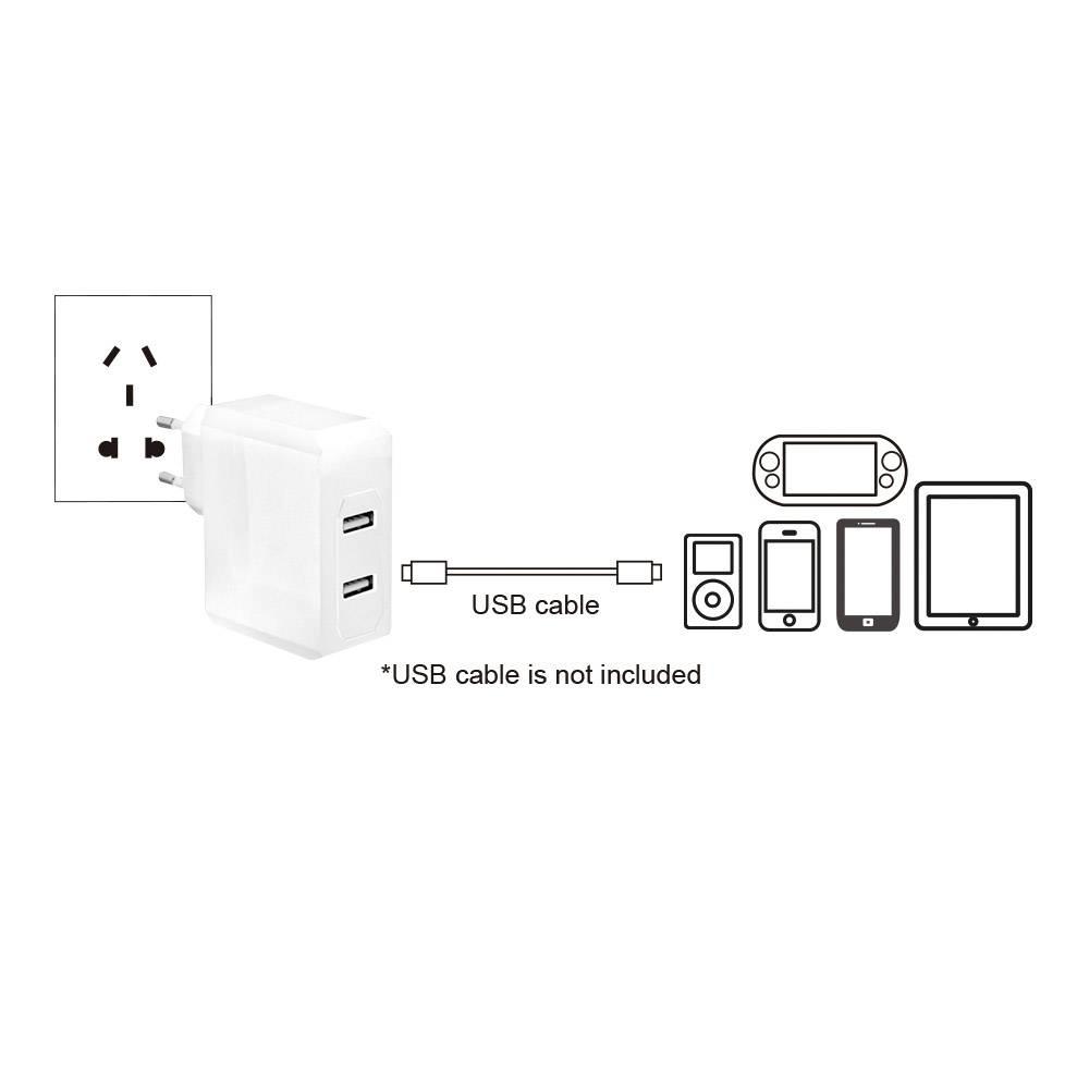 USB-oplader LogiLink PA0094 PA0094 Stikdåse Udgangsstrøm max. 3400 mA 2 x USB (value.1390762)