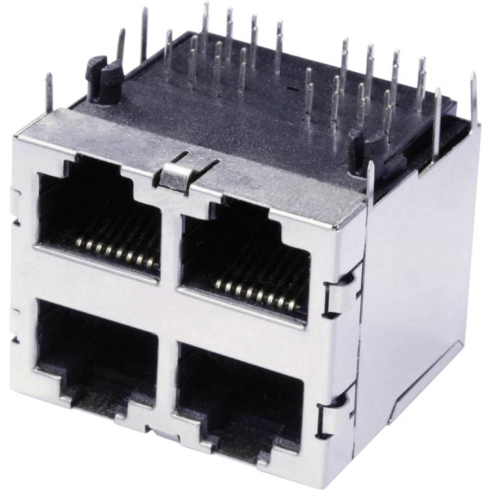 Dvojna, več-vhodna 4 x RJ45 vtičnica, vgradna, horizontalna, polov: 8 3022S2 kovinska econ connect 3022S2 1 kos