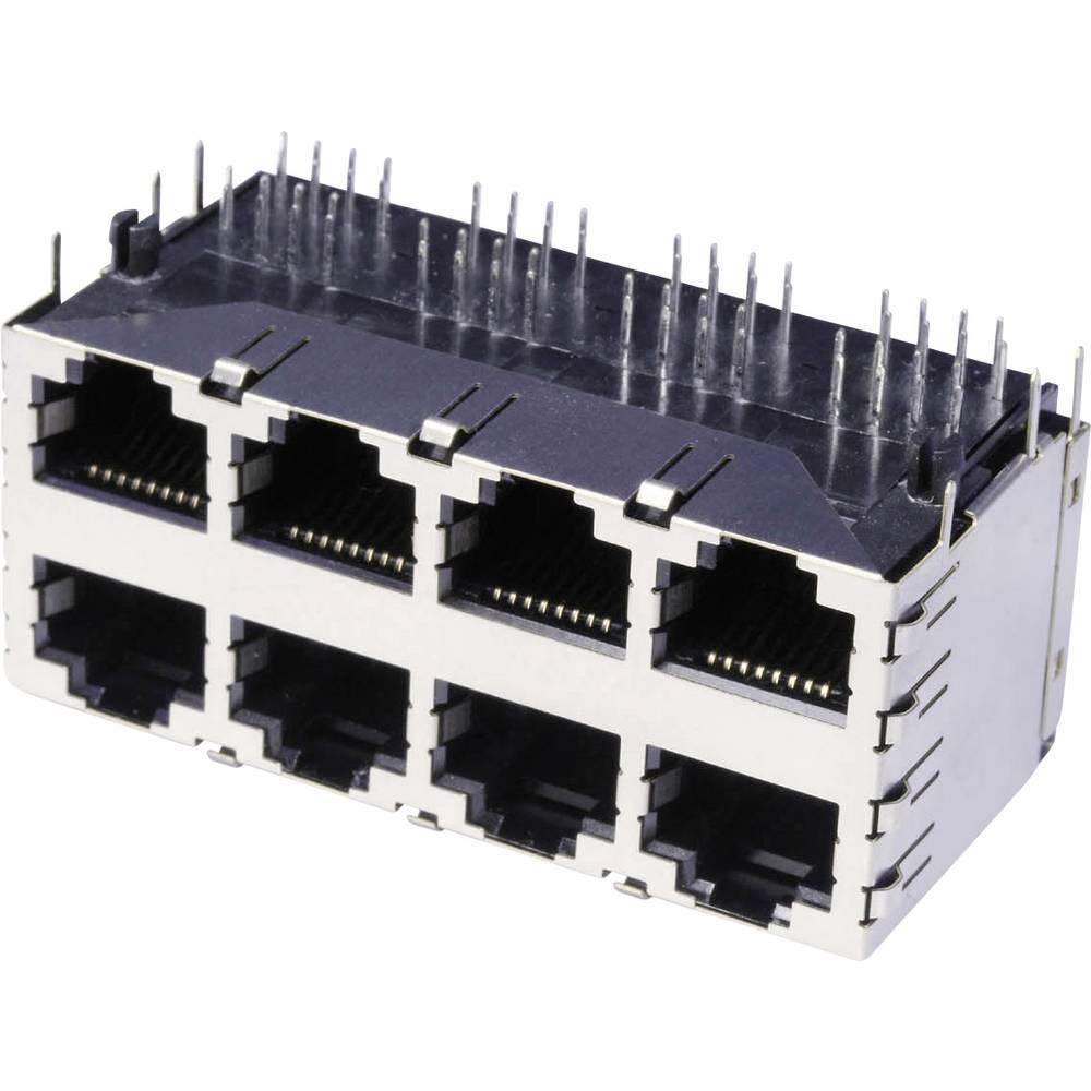 RJ45 Tilslutning, indbygning vandret econ connect 3022S4 CAT 3 Metal 1 stk
