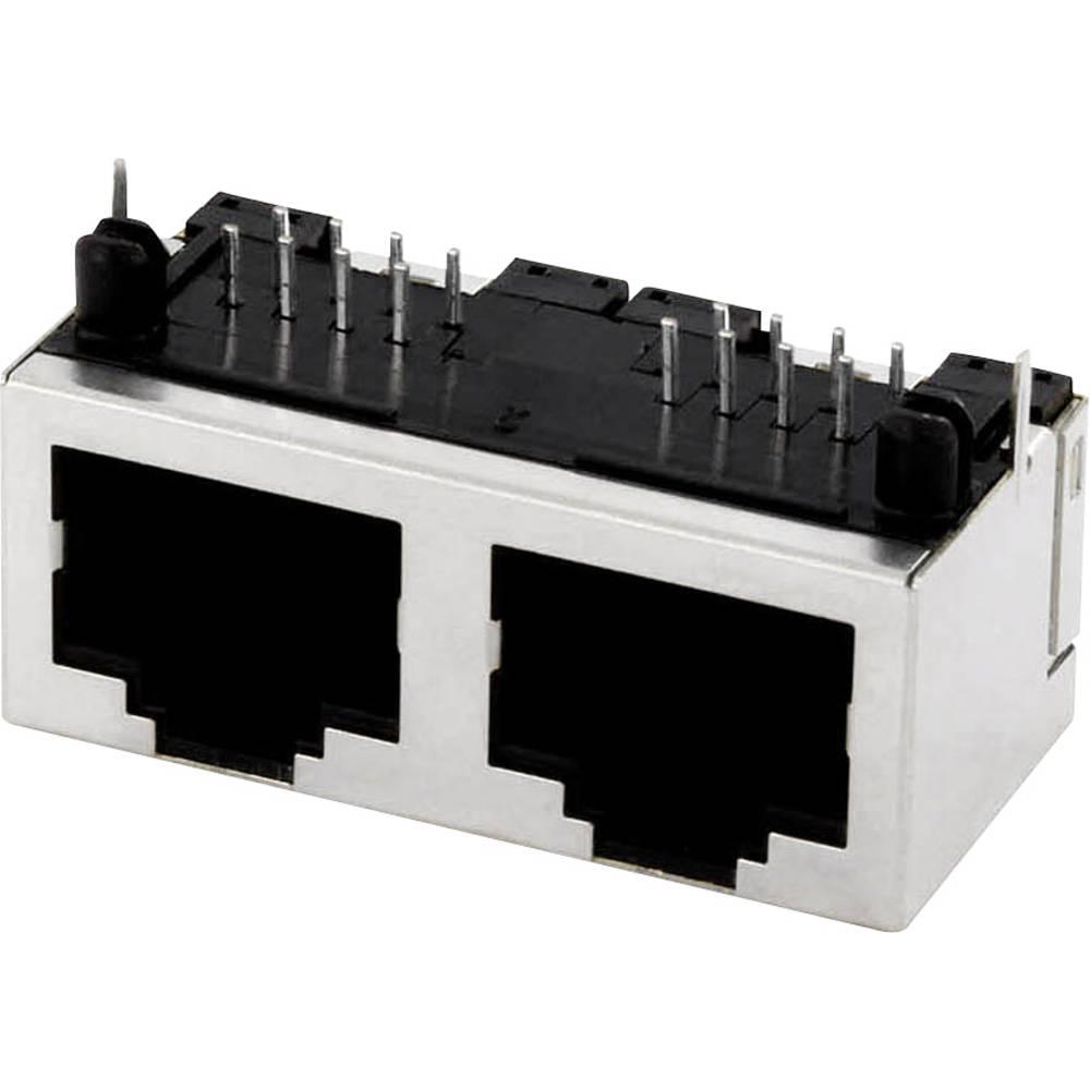 Več-vhodna 2xRJ45 vtičnica,vgradna, horizontalna, polov: 8 MPU288A kovinska econ connect MPU288A 1 kos