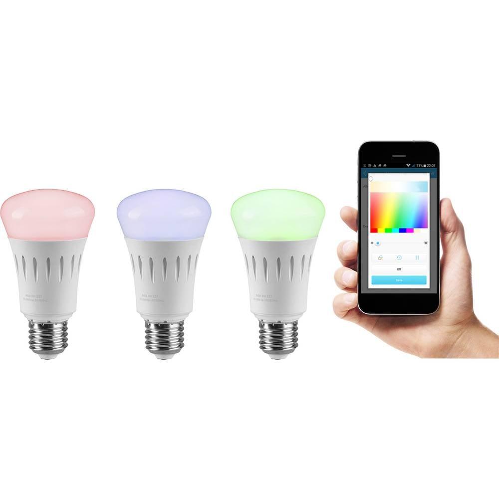 LED (RGB) žarulja sygonix 113 mm 230 V E27 7.5 W = 60 W RGBW KEU: A+ mijenjanje boja, prigušivanje, upravljanje putem aplikacije