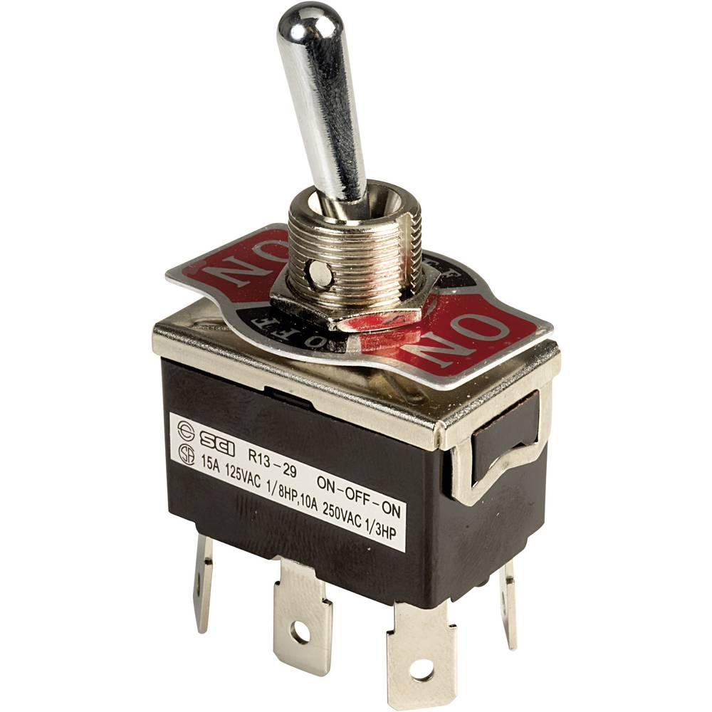 Prevesno stikalo 250 V/AC 10 A 2 x vklop/izklop/vklop SCI R13-29E-01-HPH zaskočno 1 kos