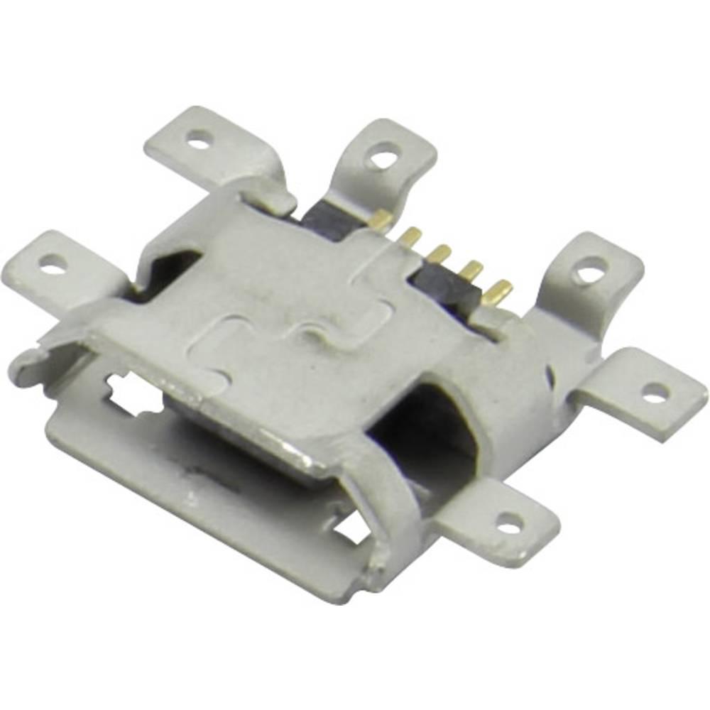 Micro USB vtičnica, vgradna, horizontalna 207E-BA00-RA1 Micro USB vgradna vtičnica SMD Attend vsebuje: 1 kos