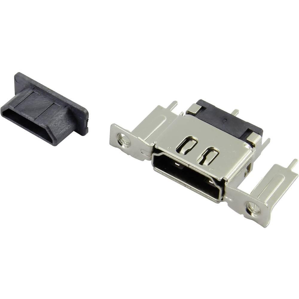 HDMI-vtični konektor za vtičnico, vgraden horizontalen srebrne barve Attend 206F-SEAN-RA1 1 kos