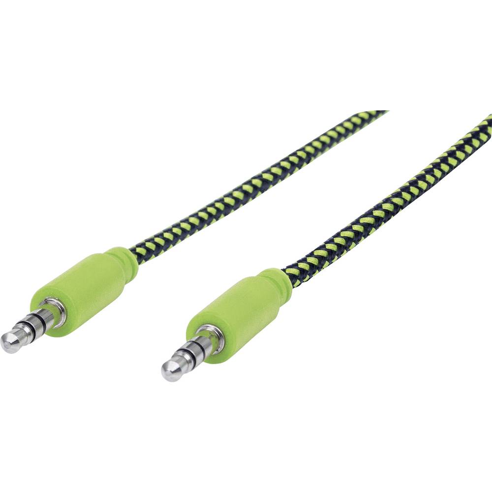 Klinken avdio priključni kabel [1x klinken vtičnica 3.5 mm - 1x klinken vtičnica 3.5 mm] 1 m črne, zelene barve
