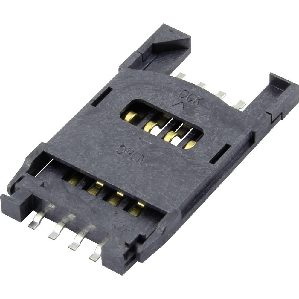 Podnožje za SIM kartico, št. kontaktov: 6 + 2 poklopno Attend 115F-ACA0-R 1 kos