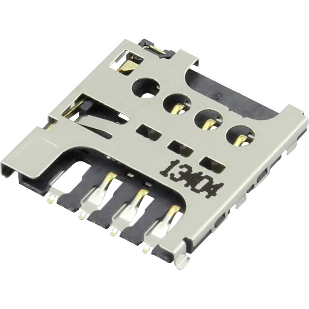 Podnožje za mikro SIM kartico, št. kontaktov: 6 potisno, potezno Attend 115I-AEAA 1 kos