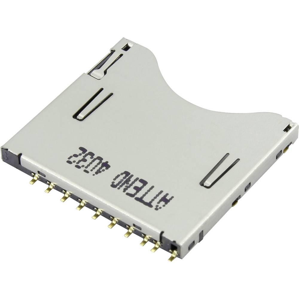 Podnožje za SD kartico, potisno, potisno Attend 104D-TCA0-R06 1 kos