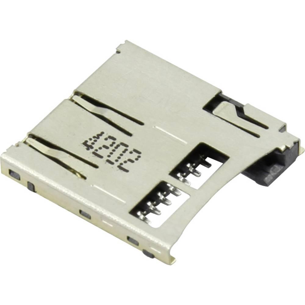 Podnožje za mikro SD kartico, potisno, potisno Attend 112A-TAAR-R03 1 kos