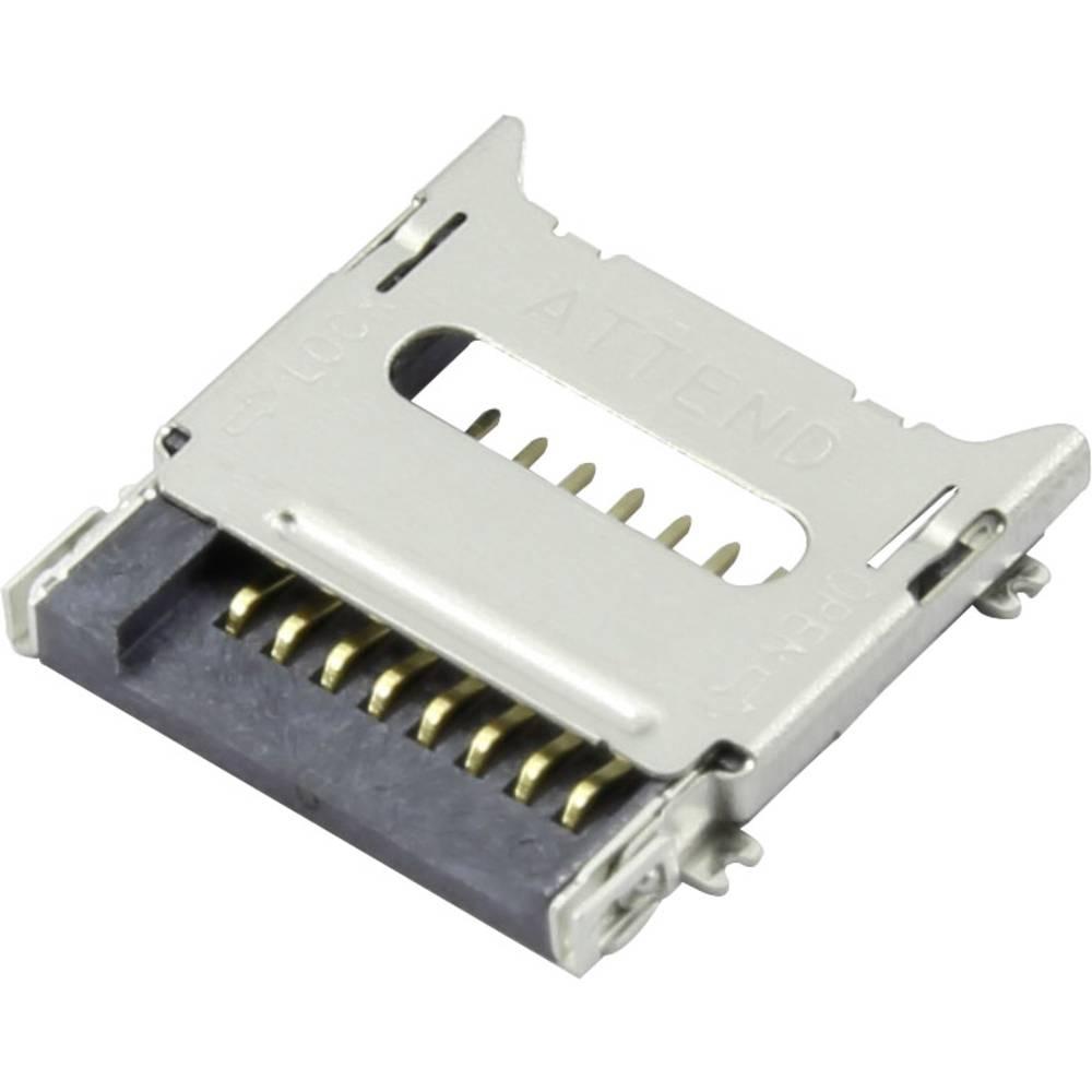 Podnožje za mikro SD kartico, poklopno Attend 112C-TBAR-R02 1 kos