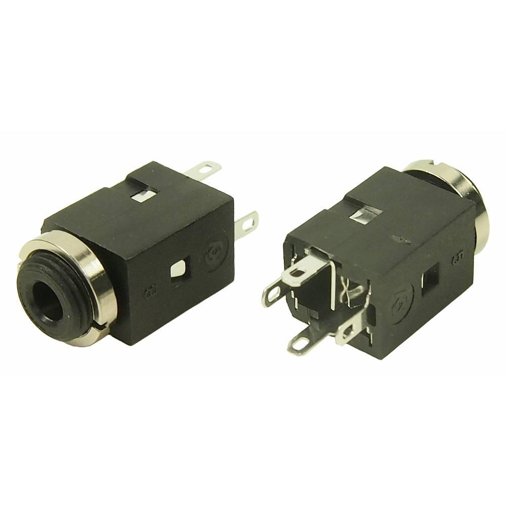 Jack priključni kabel 3.5 mm vtičnica, vertikalna vgradnja,št.polov: 4 Stereo, črna Cliff FC681374V 1 kos