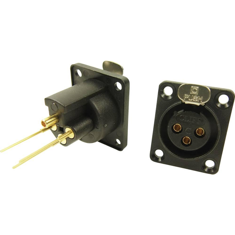 XLR-vtični konektor za prirobno vtičnico, ravni kontakti, število polov: 3 črne barve Cliff CP30081 1 kos