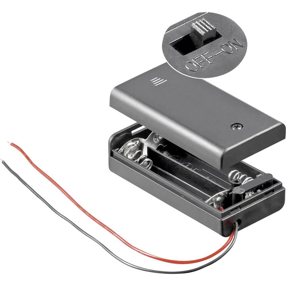 Pretinac za bateriju Goobay zatvoren s 2 kabela za 2 mignon baterije (D x Š x V) 68.4 x 35.4 x 18.6 mm