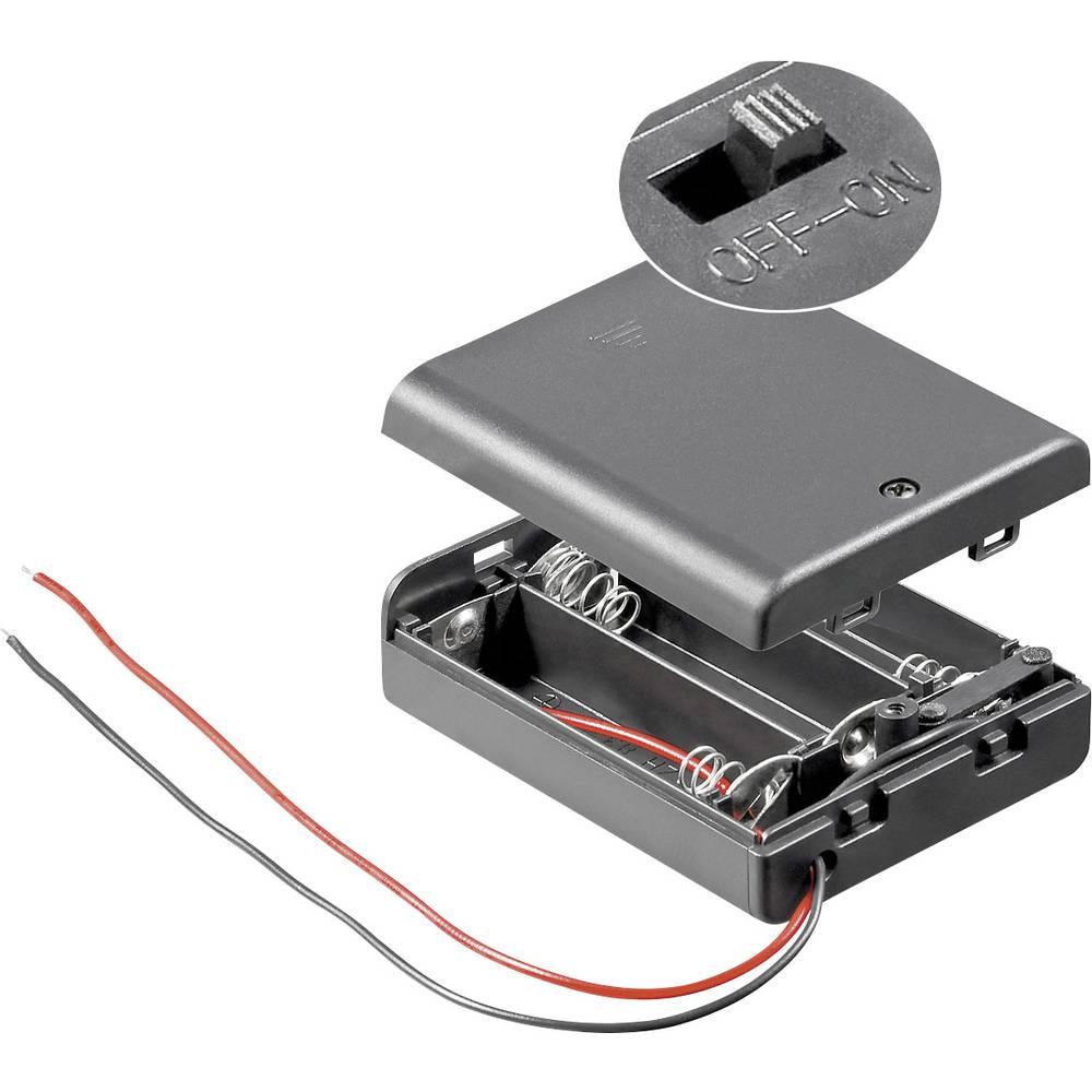 Pretinac za bateriju Goobay zatvoren s 2 kabela za 3 mignon baterije (D x Š x V) 68.5 x 48 x 18.7 mm
