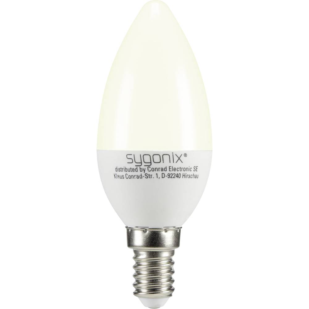 LED žarulja (jednobojna) 99 mm sygonix 230 V E14 3 W = 25 W toplo-bijela KEU: A+ oblik svijeće, sadržaj: 1 kom.