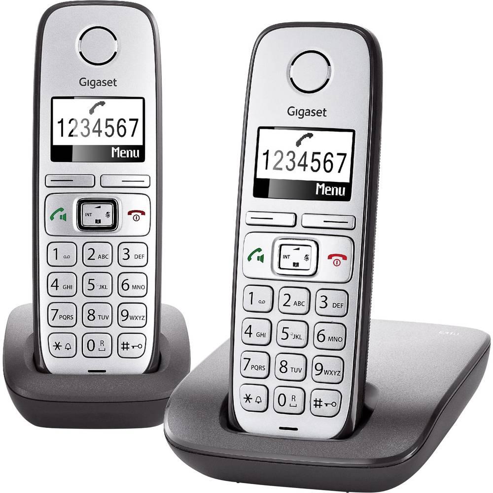 Bežični telefon za seniore Gigaset E310 Duo Handsfree Osvjetljeni zaslon Srebrna, Antracitna boja