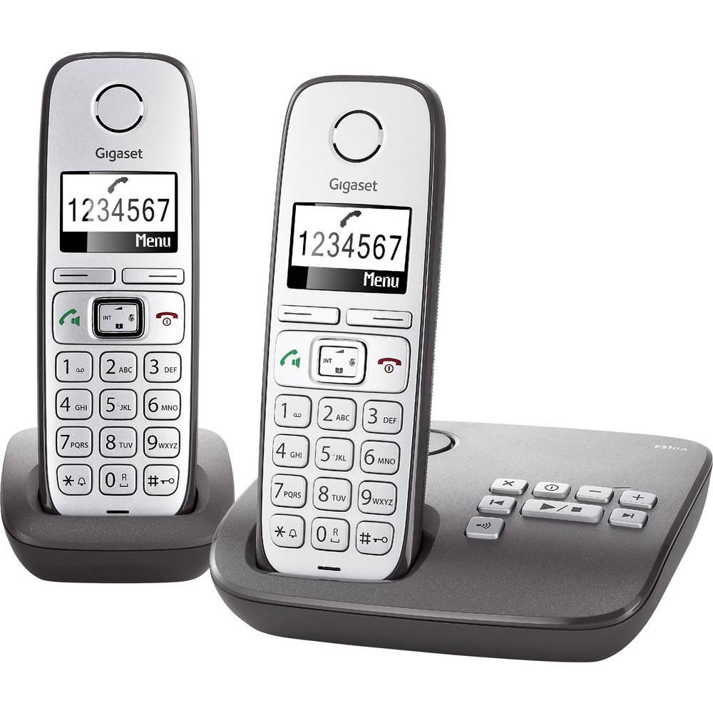 Gigaset E310A Duo Stacionarni brezžični telefon za starejše Odzivnik, Prostoročno telefoniranje Osvetljen zaslon Srebrna, Antracitna