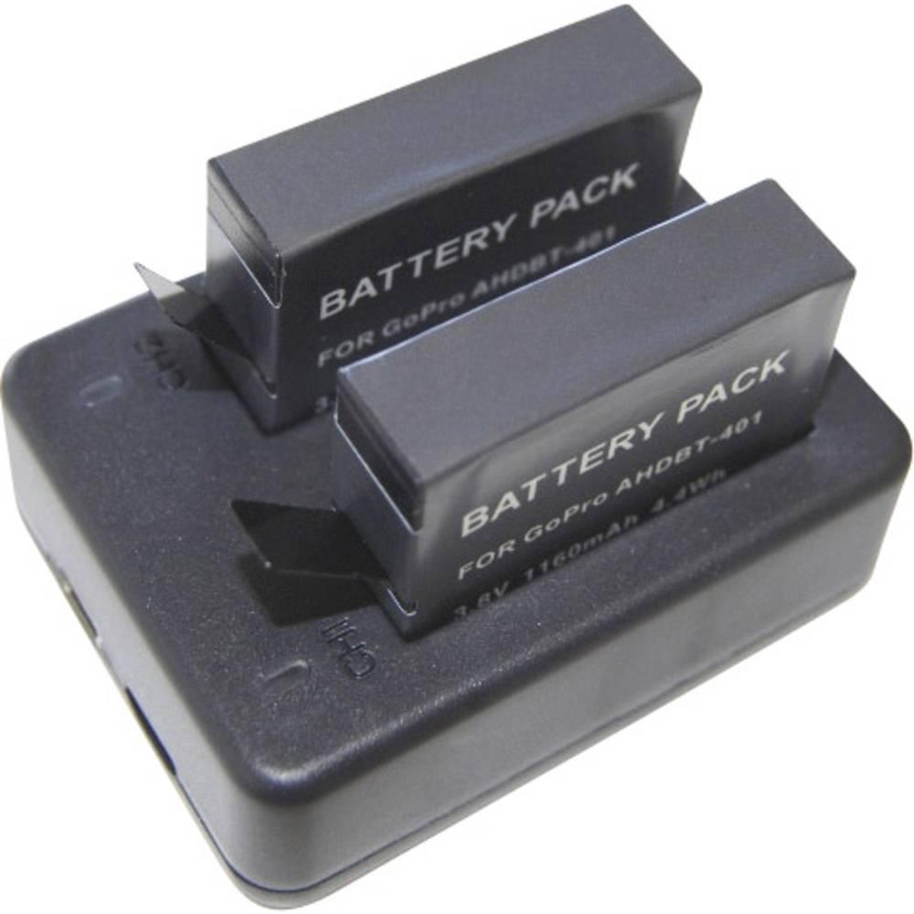 Dvostruki punjač za GoPro 4 uklj. 2 baterije za GoPro Hero 4 crni / srebrni DCGP4_2A