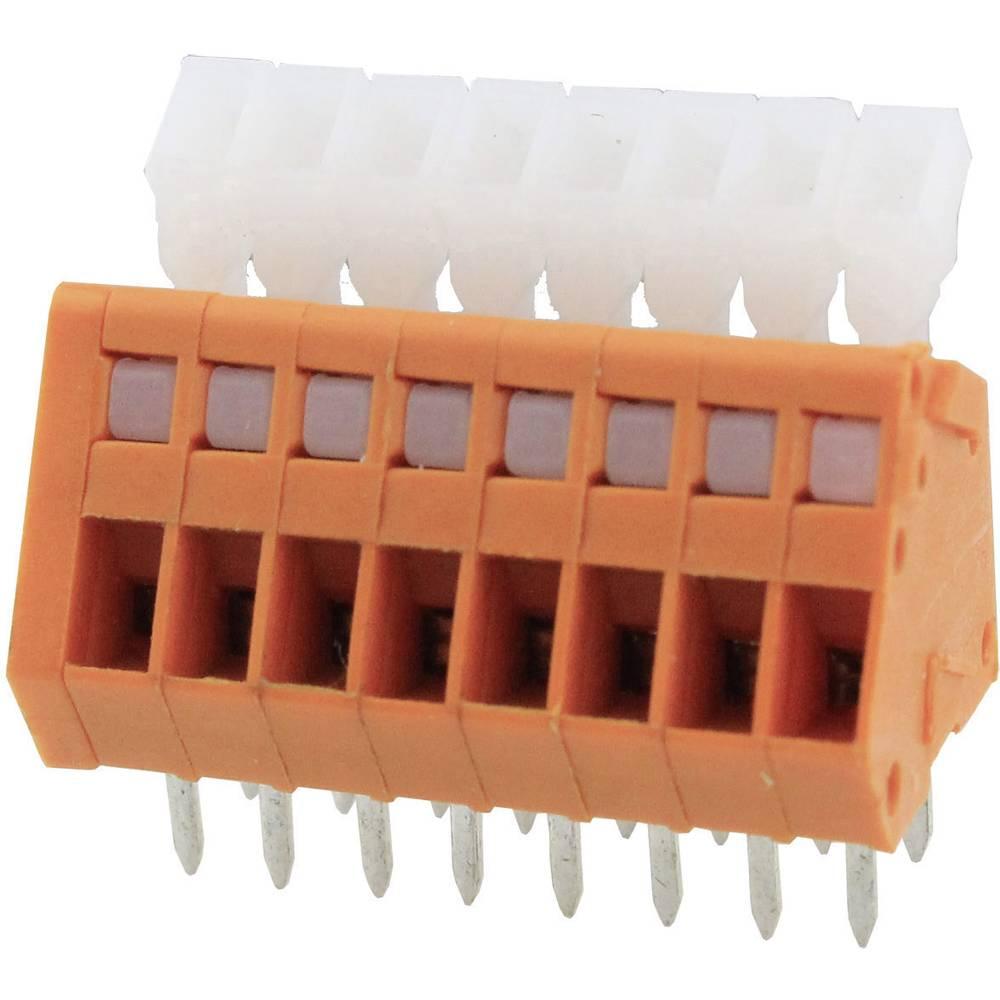 Fjederkraftsklemmeblok Degson DG240-2.54-05P-15-00AH 0.51 mm² Poltal 5 Orange 1 stk