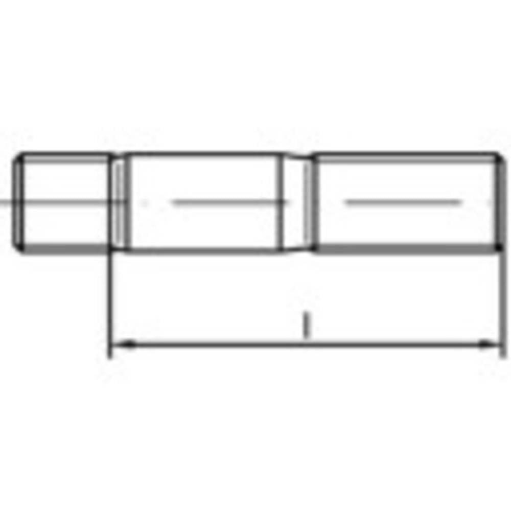Stiftskruvar TOOLCRAFT M20 75 mm DIN 939 Rostfritt stål A2 1 st