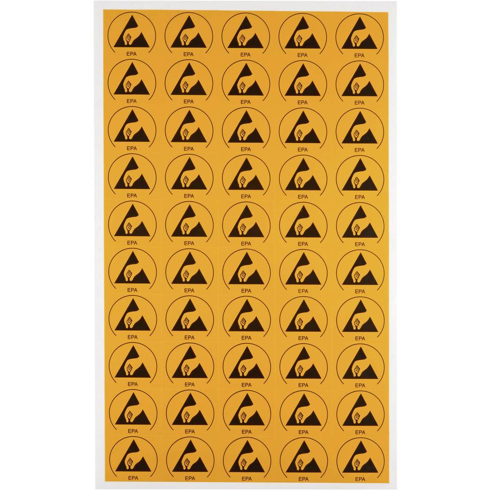 Opozorilni znak za ESD območja 50 kosov rumene, črne barve (D x Š) 30 mm x 25 mm Wolfgang Warmbier 2850.3025 samolepilna