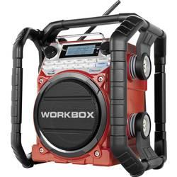 FM Byggradio PerfectPro Workbox AUX, Bluetooth, MW, NFC, FM Röd