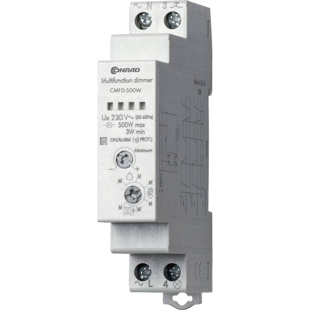 Dimmer til hatteskinne 1 stk Conrad Components CMFD-500W Driftsspænding (num):230 V/AC