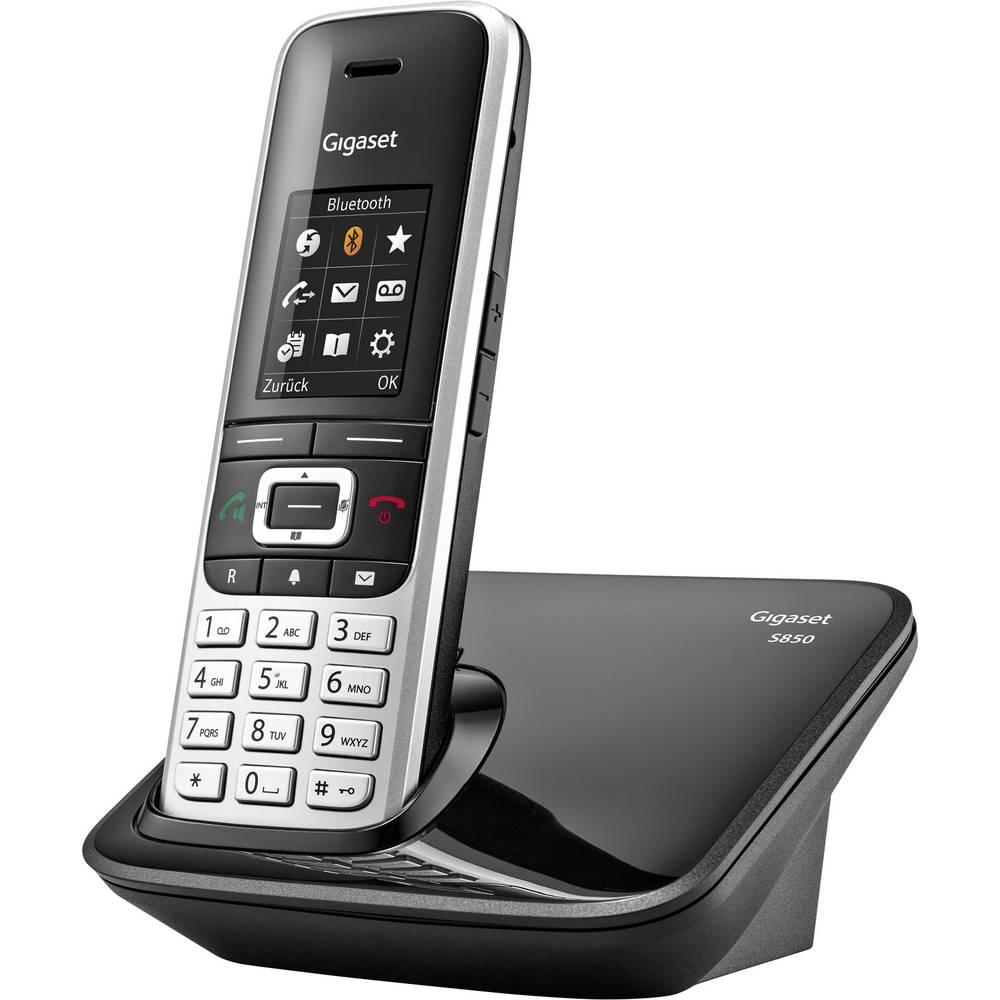 Gigaset S850 Stacionarni brezžični telefon analogni Bluetooth, Priključek za slušalke Platinasta, Črna
