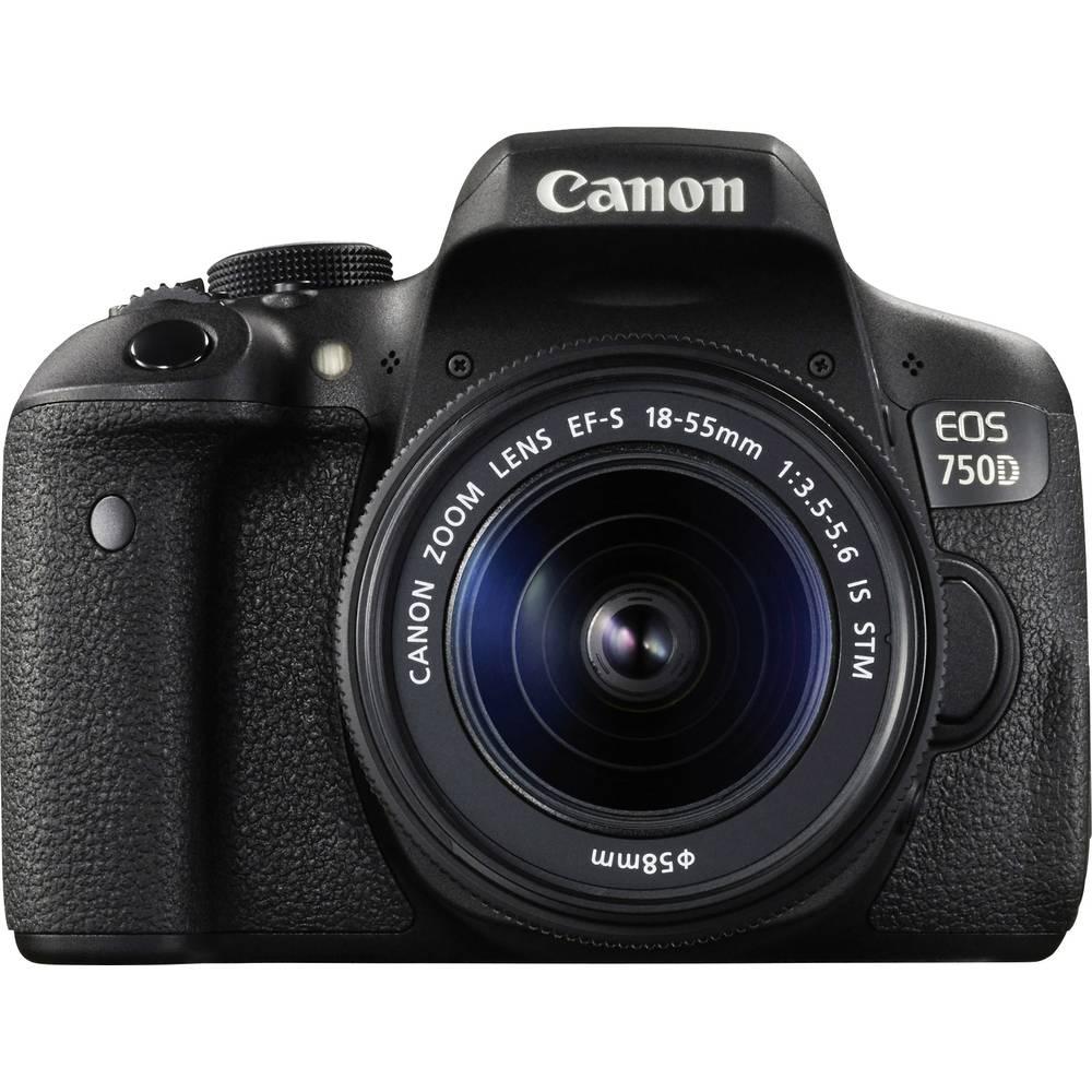 Systemkamera Digital Canon EOS 750D inkl. EF-S 18-55 mm IS STM 24.2 MPix Svart
