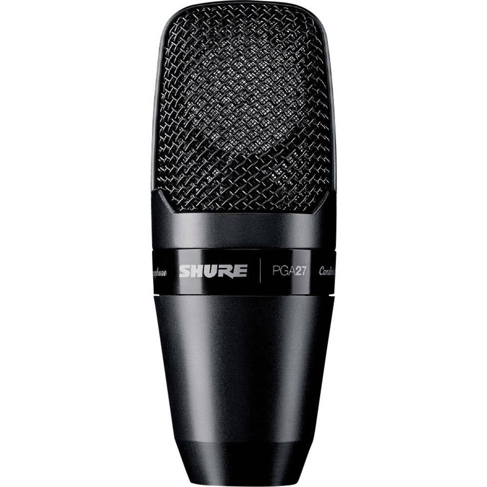 Stojni pjevački mikrofon Shure PGA27-LC povezan kablom uklj. kopča, uklj. držač, metalno kućište