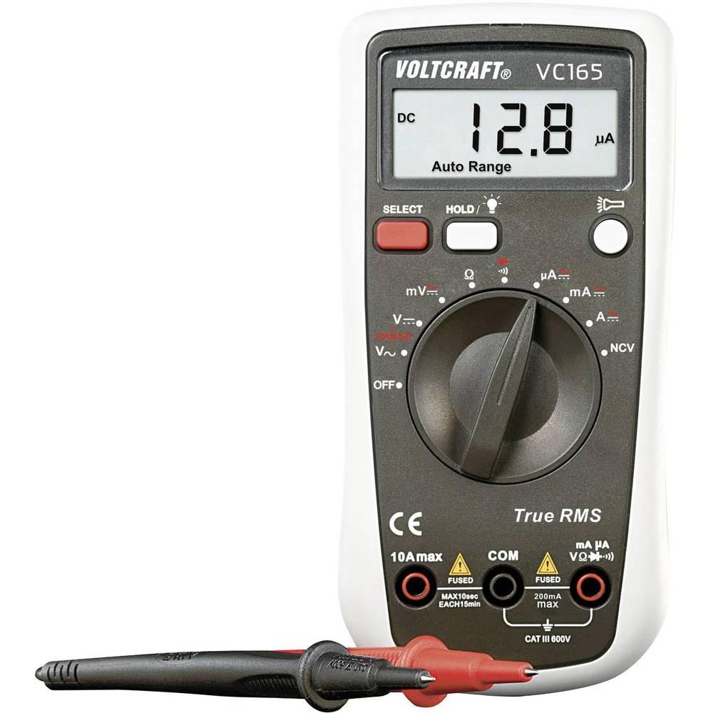 Ročni multimeter, digitalni VOLTCRAFT VC165 TRMS kalibracija narejena po: delovnih standardih, CAT III 600 V število znakov na z