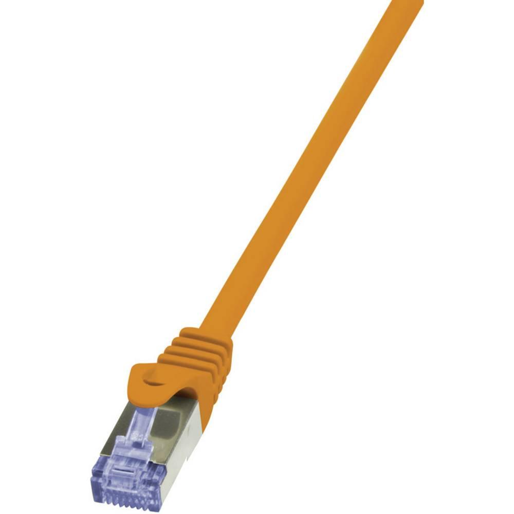 RJ45 omrežni priključni kabel CAT 7 S/FTP [1x RJ45-vtič - 1x RJ45-vtič] 0.25 m oranžen pozlačeni zatiči, Fla