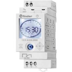 Elektronički 1-kanalni uklopni sat 12.51.8.230.0000 Finder s dnevnim i tjednim programom, 230 V/AC 1 izmjenjivač 16 A 250 V/AC