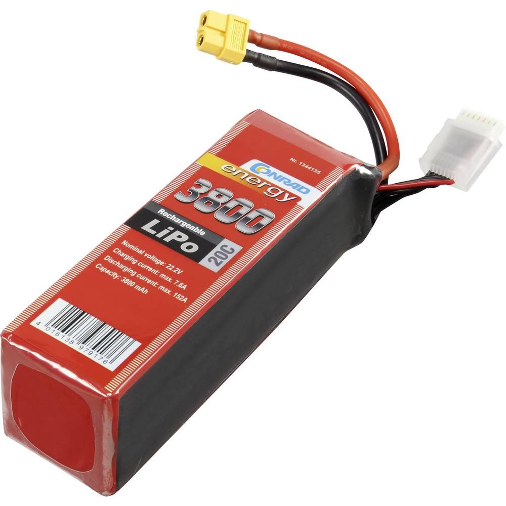 Baterijski paket za modele (LiPo) 22.2 V 3800 mAh broj ćelija: 6 20 C Conrad energy štap XT60