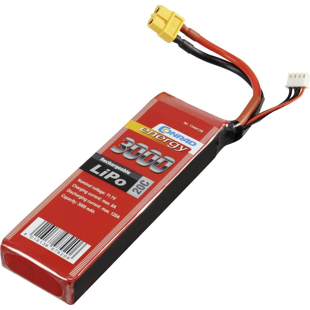 Modelarstvo - akumulatorski paket (LiPo) 11.1 V 3000 mAh 20 C Conrad energy Stick XT60
