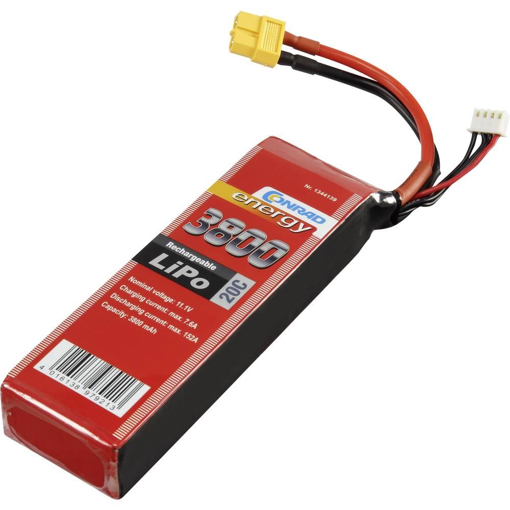Baterijski paket za modele (LiPo) 11.1 V 3800 mAh broj ćelija: 3 20 C Conrad energy štap XT60