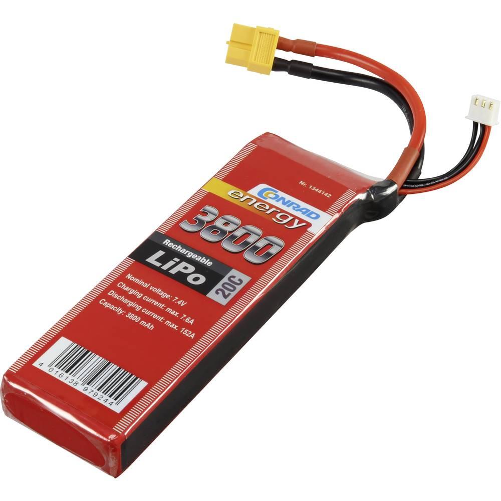 Baterijski paket za modele (LiPo) 7.4 V 3800 mAh broj ćelija: 2 20 C Conrad energy štap XT60