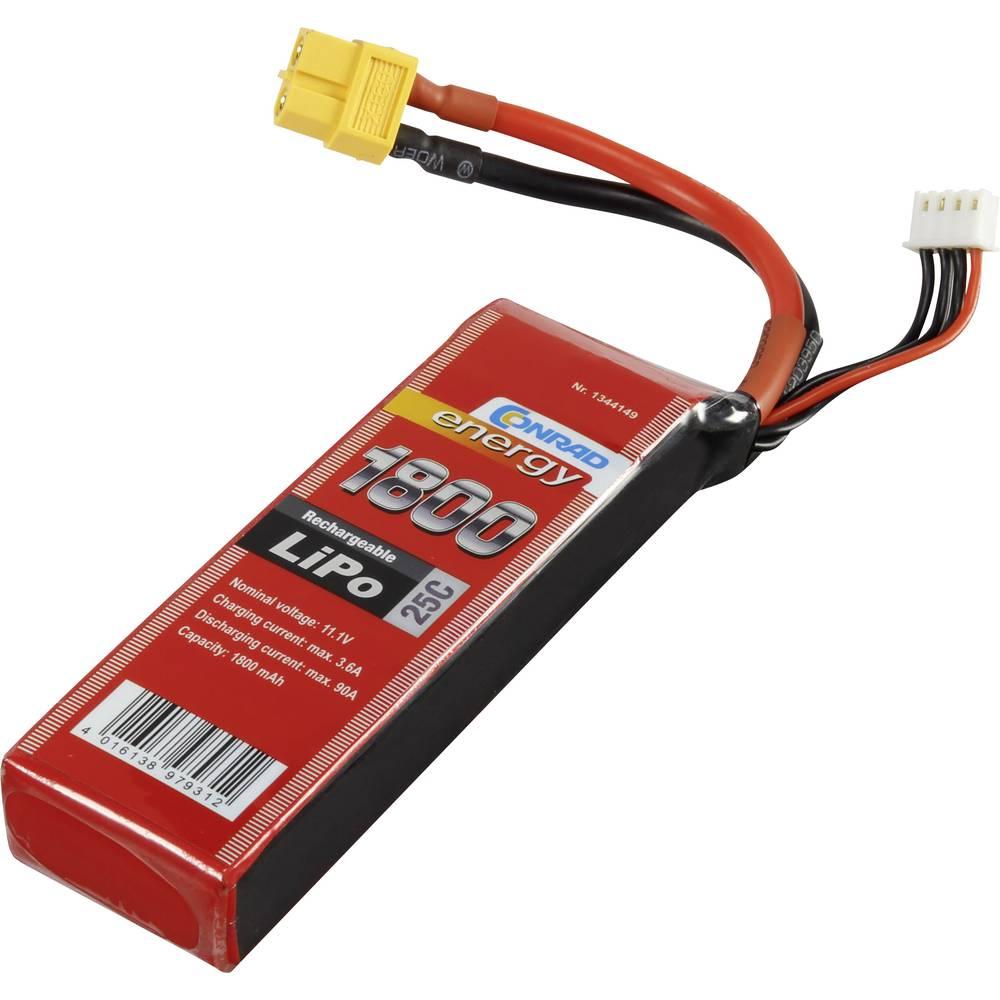 Baterijski paket za modele (LiPo) 11.1 V 1800 mAh broj ćelija: 3 25 C Conrad energy štap XT60