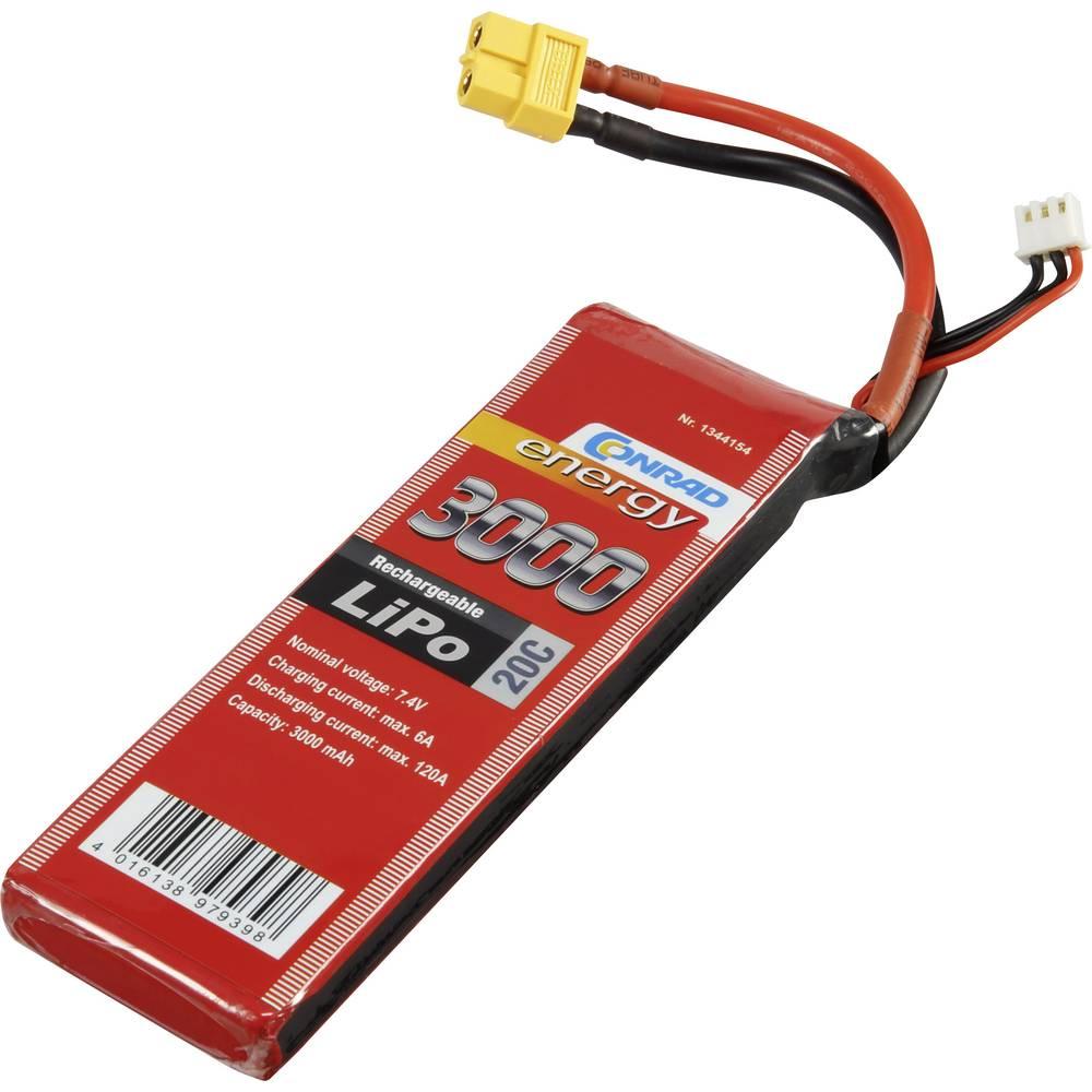 Baterijski paket za modele (LiPo) 7.4 V 3000 mAh broj ćelija: 2 20 C Conrad energy štap XT60