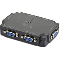 4 Port VGA-Splitter Digitus Professional DS-42120-1 individuellt omkopplingsbara, med status-LED 1920 x 1080 pix Svart