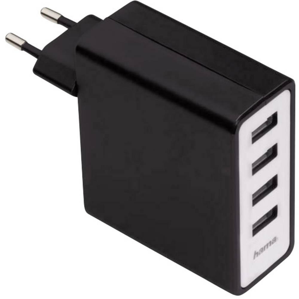 USB-oplader Hama 4-fach 00054182 Stikdåse Udgangsstrøm max. 5100 mA 4 x USB (value.1390762)